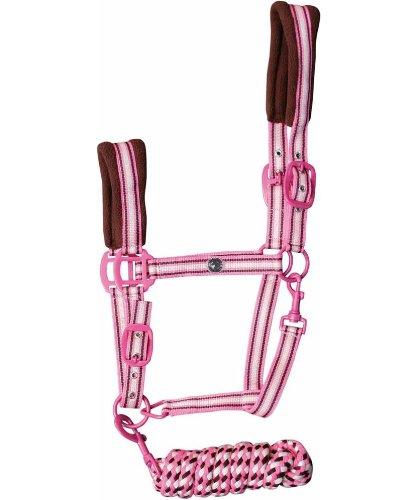 Halfter mit Strick Stripe Harrys Horse pink lemonade