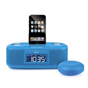 iLuv iMM153BLU Dual Alarm Clock with Bed Shaker for your iPod – Blue