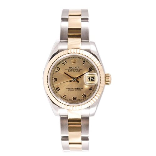 Rolex Ladys New Style Heavy Band Stainless Steel & 18K Gold Datejust Model 179173 Oyster Band Fluted Bezel Champagne Arabic Dial