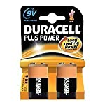 Duracell Plus Power Alkaline 9V Size Batteries Pack of 2 6LR61/MN1604 from Duracell