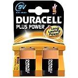 Duracell Plus Power Alkaline 9V Size Batteries Pack of 2 6LR61/MN1604
