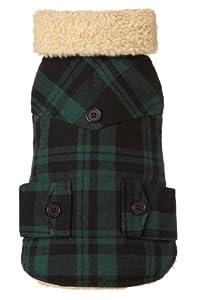 Fab Dog Americana Classics Shearling Lined Wool Plaid Dog Jacket, Green, 12