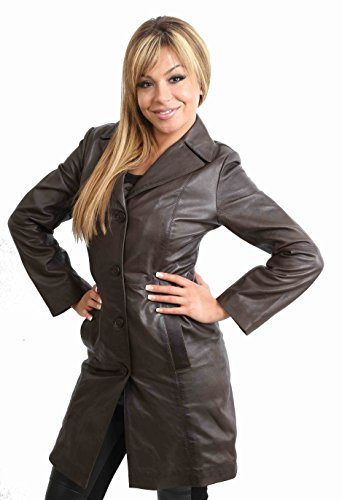 Womens 3/4 Long Leather Coat for Ladies Fitted Knee Length Macey Black Brown Red (LARGE, Brown)