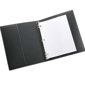"""Leather 3 Ring Binder, 1"""" Presentation Format, Black"""
