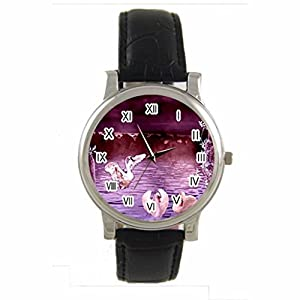 Swan Lake Custom 100% NEW genuine leather Band fashion adult's Sport wrist watch