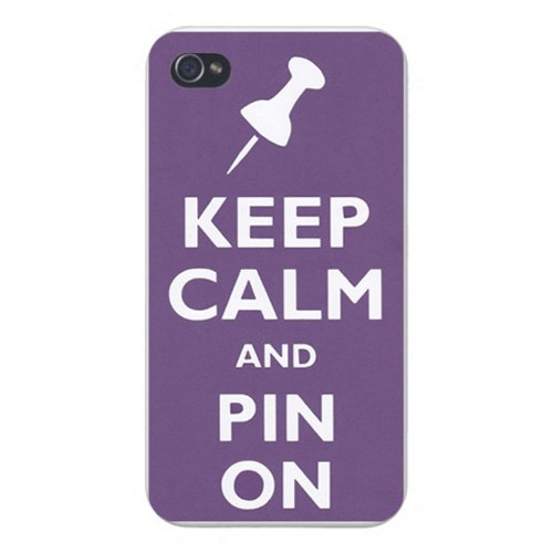 Apple Iphone Custom Case 4 4s White Plastic Snap on – Keep Calm and Pin On (Pinterest)