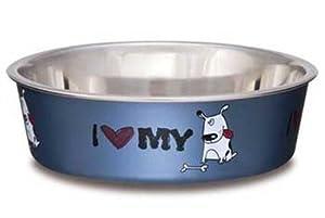Loving Pets I Love My Dog Bella Bowl for Dogs, Large, 2-Quart, Steel Blue