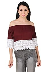 Brand Me Up women Botton Lace Off shoulder top - XS Size (Maroon)
