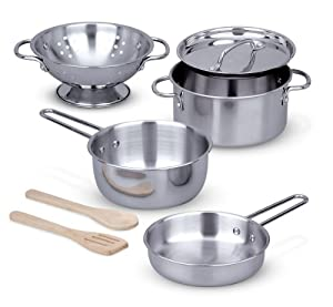 Melissa & Doug 8-Piece Stainless Steel Pots and Pans Playset for Kids