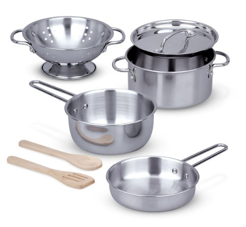 Melissa & Doug Stainless Steel Pots and Pans Pretend Play Kitchen Set for Kids (8 pcs) (Restaurant Size Cooking Pot compare prices)