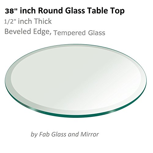 Glass Table Top: 38 inch Round 1/2 inch Thick Beveled Tempered (38 Glass Tabletop compare prices)