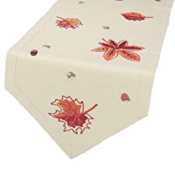 Xia Home Fashions Fall Leaf Crewel Embroidered Harvest Fall Table Runner, 15 by 72-Inch