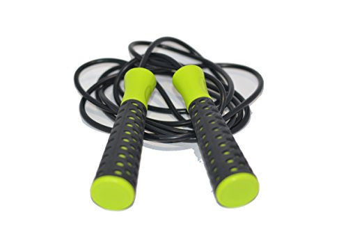 Exercise Jump Rope - PVC Skipping Rope with Adjustable Clips and Non Slip Handles & Ball Bearings - Premium Fitness Speed Rope for Workout Boxing MMA Cardio Crossfit - FREE Full Body Workout ebook for
