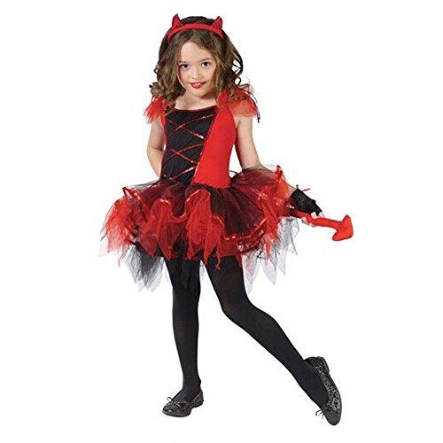 (タリンダ)Talinda ハロウィン 衣装 子供 女の子 ドレス コスプレ 猫 衣装 小悪魔 衣装 仮装 魔女ドレス キッズ コスプレ 子ども ワンピース 角カチューシャ 手袋 3点 セット レッド XL