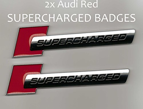 2 Pieces - SUPERCHARGED - Red Chrome - Badge for Audi - Decal Emblem Car Sticker *** USA SELLER *** (Audi Supercharged Emblem compare prices)
