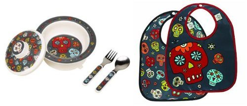 Sugarbooger Covered Bowl, Silverware, and 2 Bibs Set- Dia de los Muertos (Day of the Dead) - 1
