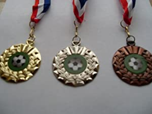 Football Medals (with ribbon) Choice of Gold, Silver, or Bronze