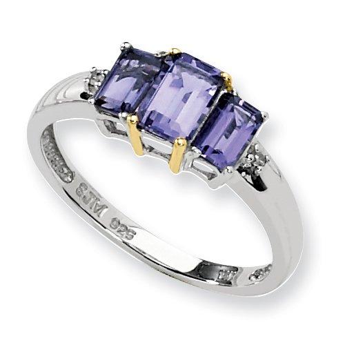 Sterling Silver & 14k Iolite Diamond Ring, Size 6
