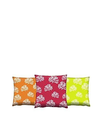 Gravel Set of 3 Coral Reef Print Throw Pillows, Orange/Rust/Citron
