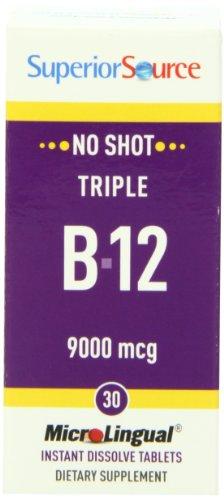 Superior Source No Shot Triple B12 Multivitamins, 9000 Mcg, 30 Count