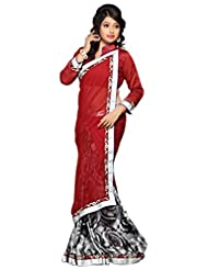 Alethia Maroon Chiffon Beautiful Printed Sarees With Unstitched Blouse
