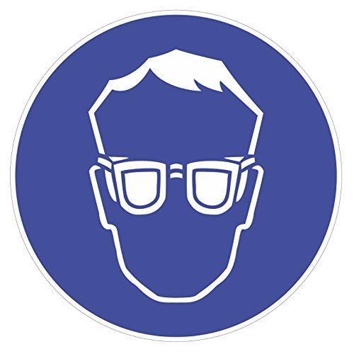 Gebotsaufkleber-Augenschutz-benutzen-Art-hin140-DIN-4844-2--9cm-Hinweis-Achtung-Warnhinweis-Gebotshinweis-Augenschutz-benutzen-Schutzbrille