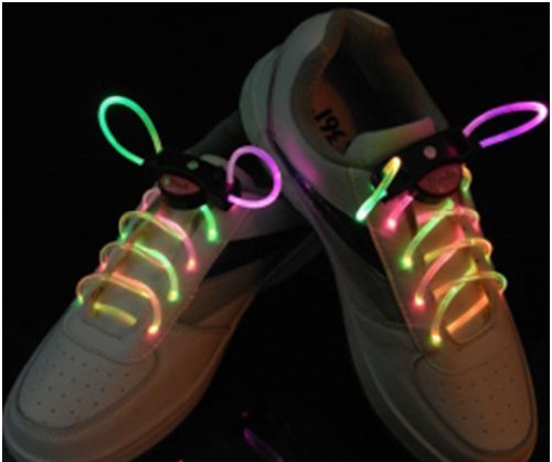 Image® Light Up Flash Led Waterproof Shoelaces - 3 Modes (On, Strobe & Flashing)- Greed & Pink