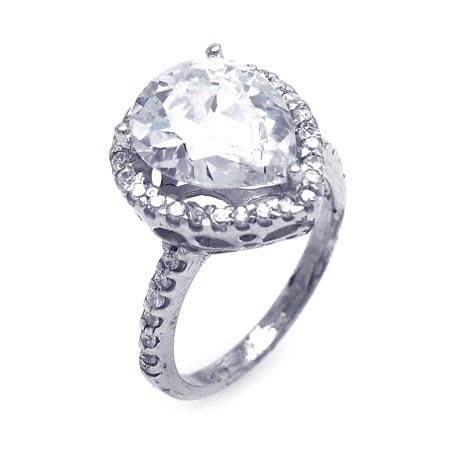 Solid Sterling Silver Pear Shape Center Cubic Zirconia Engagement Ring, Includes Gift Box and Special Pouch. (9.5)