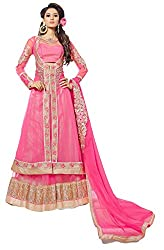 Justkartit Women's Wedding Wear Stylish Lehenga Bottom Style Pink Colour Embroidered Semi-Stitched Dress Material