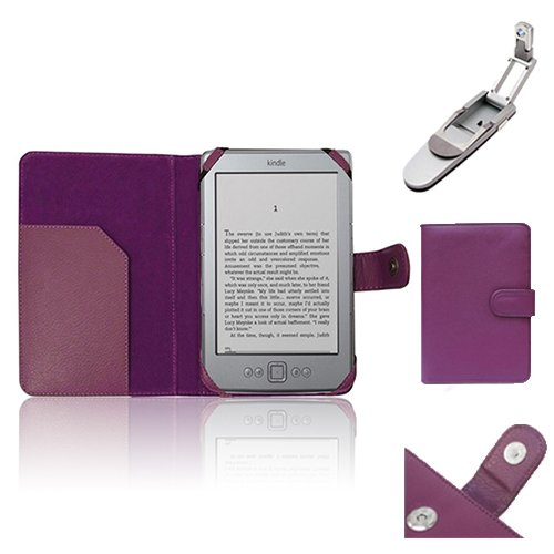 """Xtra-Funky Exclusive Pu Leather Book Wallet Folio Style Case For Amazon Kindle 4 (Black Or Silver 6"""" E-Ink Display No Keyboard Model) With Clip On Robotic Folding Light - Purple"""