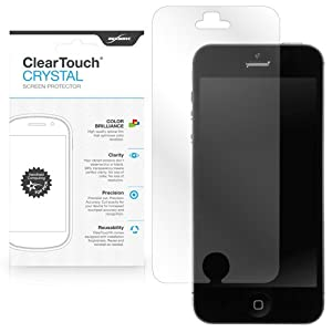 BoxWave Apple iPhone 5 ClearTouch Crystal Screen Protector - Premium Quality, Ultra Crystal Clear Film Skin to Shield Against Scratches (Includes Lint Free Cleaning Cloth and Applicator Card) - Apple iPhone 5 Screen Guards and Covers