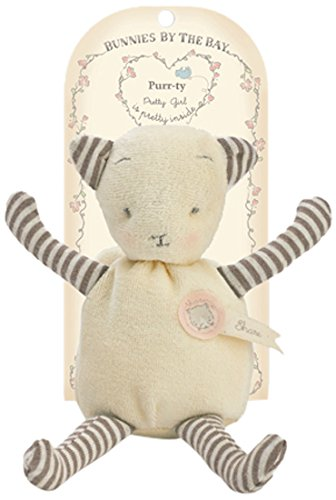 Bunnies By The Bay Purrty Kitty Plush Toy, White/Grey Stripe