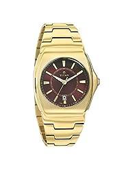 Titan Brown Dial Gold Strap Analog Watch For Men - 90021YM04J