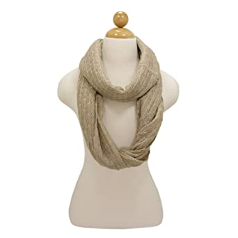 Premium Solid Color Knit Infinity Circle Scarf - Different Colors Available, Beige
