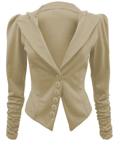ENVY BOUTIQUE LADIES RUCHED SLEEVE BUTTON BLAZER