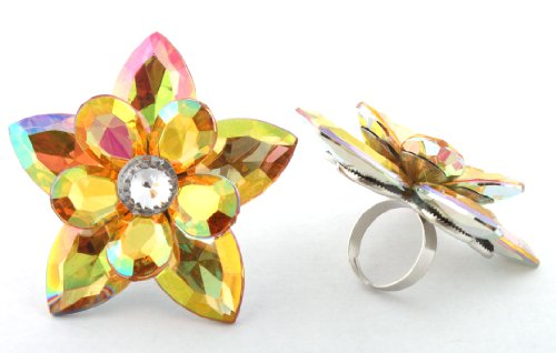 Ladies Silver with Yellow Double Layered Flower and Pointed Leaves Metal Adjustable Finger Ring