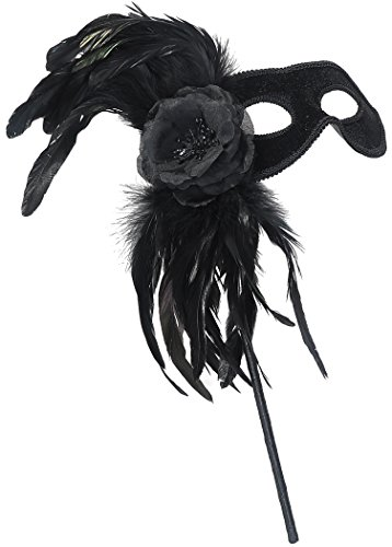 [Masquerade Mask w/ Holding Stick Feather Party Masks w/ Flower Black] (Feather Mask With Stick)