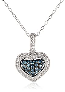 Black Rhodium Sterling Silver Blue and White Diamond Heart Pendant Necklace (0.25 Cttw, G-H Color, I1-I2 Clarity), 18