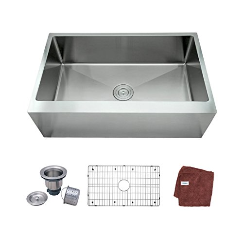 Ymbol AS3320 33-inch Farmhouse Apron-Front Single Bowl 16 Gauge Stainless Steel Kitchen Sink