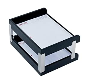 Dacasso Office Organization Envelope Mail Storage Desktop Decorative Classic Black Leather Double Side-Load Letter Trays with Silver Posts