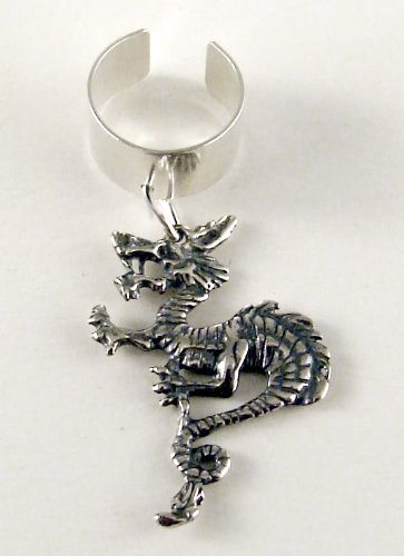 Sterling Silver Oriental Dragon Ear Cuff