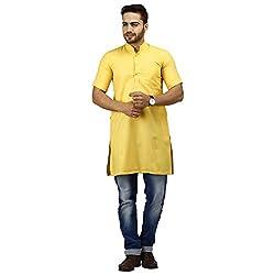Modimania Solid Men's Straight Yellow Modi Kurta