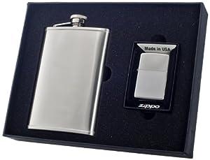 "Visol ""Edge"" Flask and Zippo Lighter Gift Set, 8-Ounce"