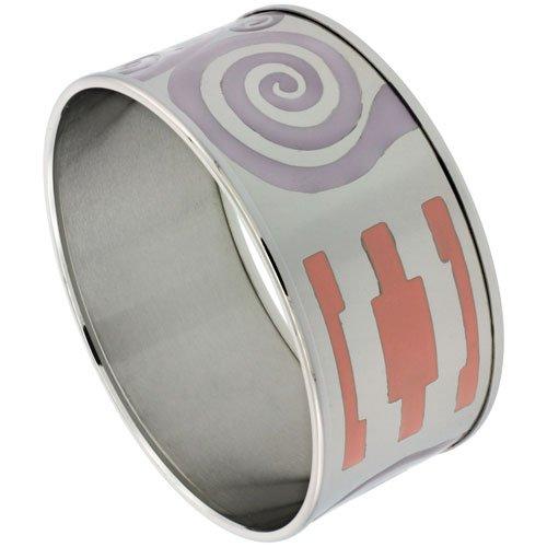 Stainless Steel Slip-On Bangle Bracelet w/ Multi Color (Purple & Orange) Swirl Pattern, (30 mm) wide, 62mm Diameter