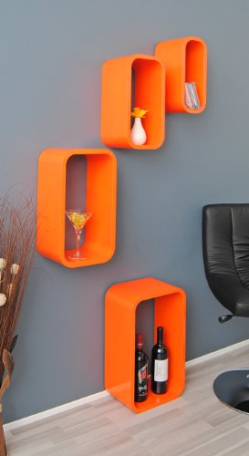 4er-Set-Lounge-Regal-Design-Retro-70er-Cube-Wandregal-Hngeregal-Regalwand-lngliche-Form-in-Orange