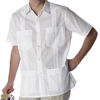 Guayabera shirt for men poly cotton. Short sleeve