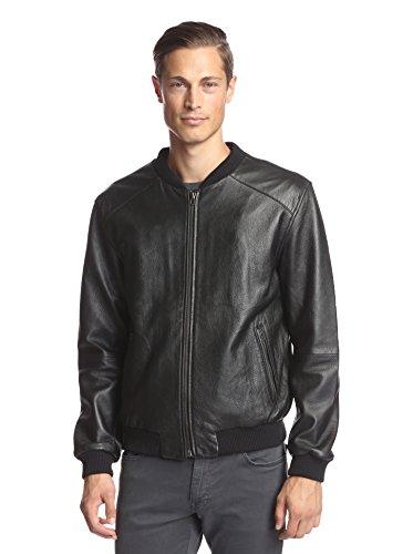LOT78 Men's Zip Front Leather Bomber