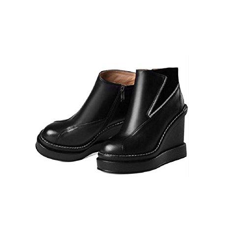 YYH Vera pelle donna stivaletti scarpe tondo Stivaletto in pelle impermeabile con . black . 34