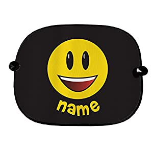 PERSONALISED EMOJI DESIGN CAR WINDOW SUN SHADES GREAT FOR CAR BUS CHILDREN