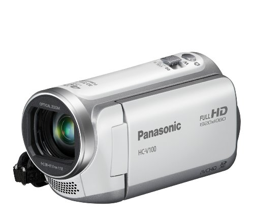 Panasonic V100 Full HD 1920 x 1080 Camcorder - White (42x Intelligent Zoom, SD Card Recording, Power OIS, Face Recognition) 2.7 inch LCD